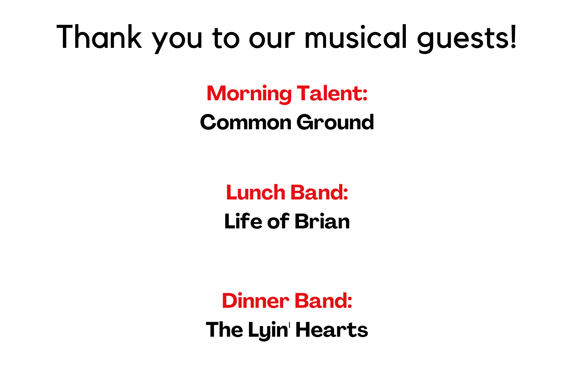 2021 Musical Guests